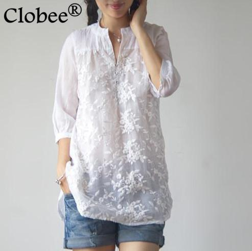 37799475db38 Großhandel Clobee 2018 Herbst Retro Frauen Sommer Stil Elegante Stickerei Lange  Weiße Bluse Shirts Original Robe Plus Größe Lose Tops V142 Von Longan08, ...