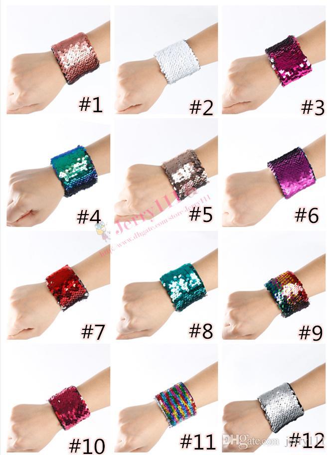 Mermaid Sequin Bracelet Wristband Cuff Sequins Bracelets Women Charm Jewelry Girl Wedding Favors Mermaid Bracelet Wristband bangle LC663