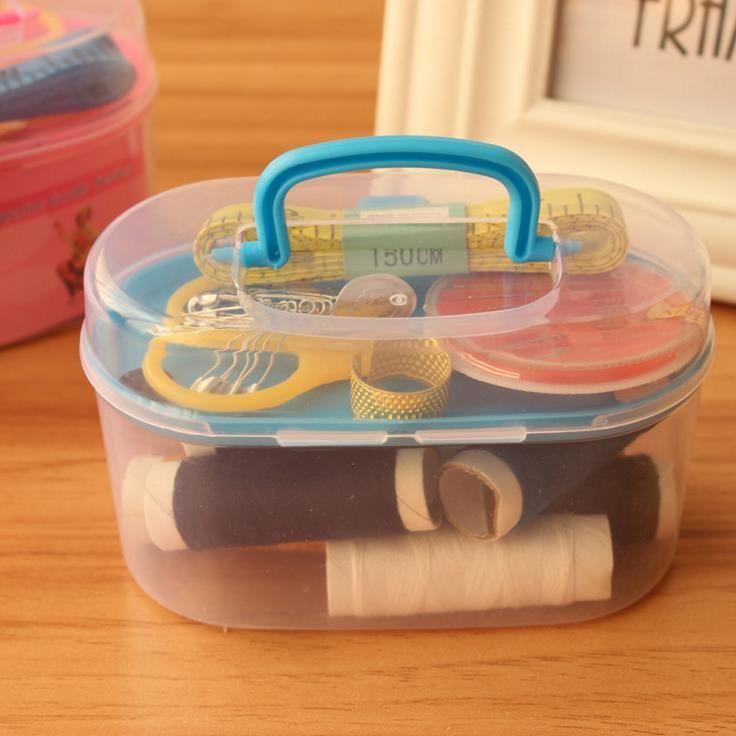 Sewing Tools Kit Crochet Full Set Threader Needle Measure Tape Scissor Kit Mini Travel Plastic Sewing Kit Tool with Storage Box