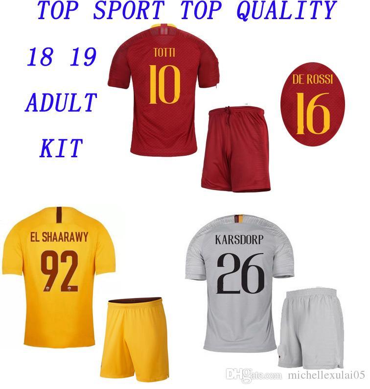 Compre 18 19 Kits De Fútbol ROMA 2018 2019 TOTTI DZEKO NAINGGOLAN DE ROSSI  PEROTTI Camisetas De Fútbol Pantalones Cortos ROME Adultos Tailandia  Calidad ... cd6f8bfbbc496