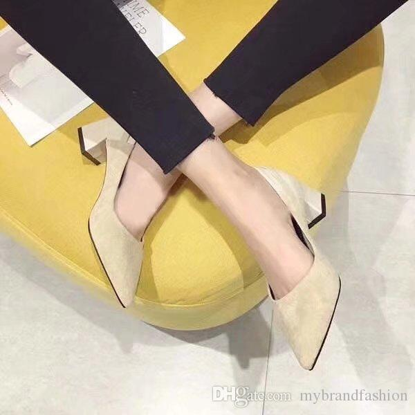 2018 Summer New Shoes, Lady Sandal ,Women Slides Suede High Heels Pointed Toe High Quality Original PackageDust bag+box #324D