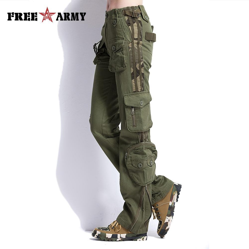 Chándal Verde Multi Pantalones De Tácticos Pocket Mujer Ropa Algodón Del Gran Tamaño Militar Ejército Carga Yy76gbfv