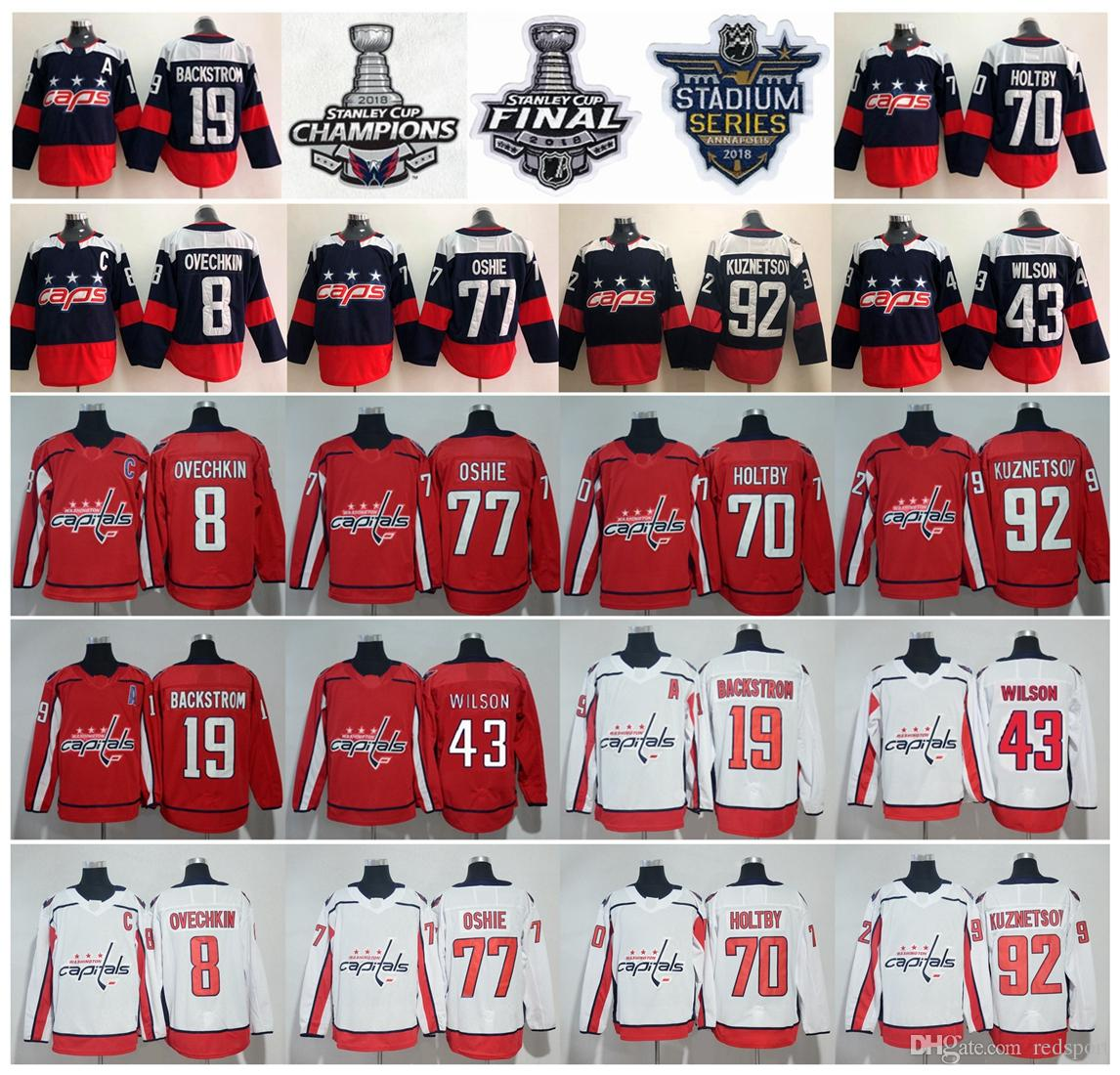 583e047b233 2018 Stanley Cup Champions Washington Capitals Alex Ovechkin TJ Oshie  Braden Holtby Nicklas Backstrom Wilson Evgeny Kuznetsov Hockey Jerseys UK  2019 From ...