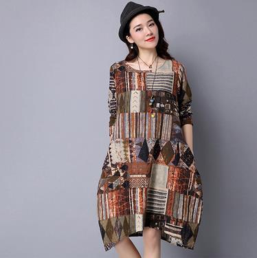 Clobee Algodón Estampado de lino Flor Vestido de mujer Vintage Étnico Elegante Vestidos de mujer Manga completa Largo Suelto Femme Vestidos V301