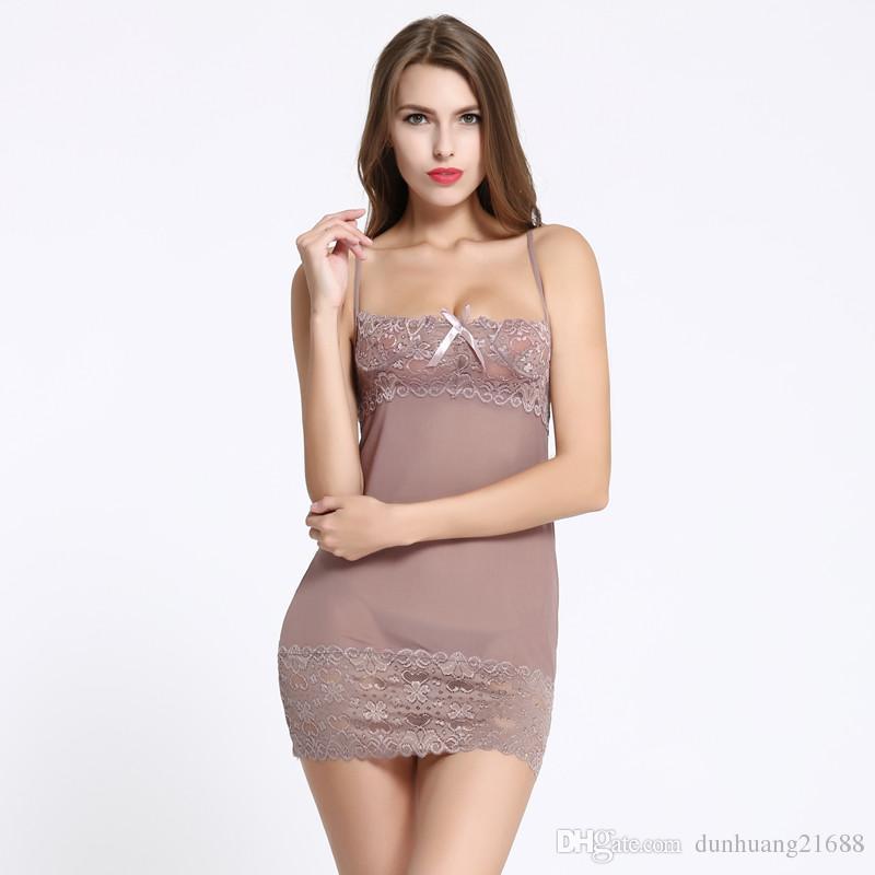 c9879c7f959 Lace Dress Sexy Sleepwear Female Temptation Women's Summer Back ...