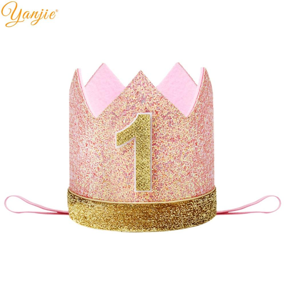 First Birthday Headband For Infantile Girls 2018 Princess Pink Crown  Headbands Glitter Party Hat Hair Band Hair Accessories Gift Little Girl  Hair ... cf43882ae3e