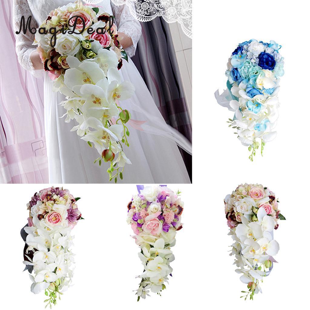 Novelty Cascade Bouquet Wedding Bridal Bridesmaid Artificial Silk ...