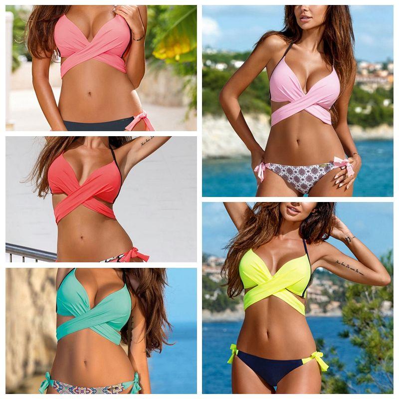 f6b94805fc 2019 Sexy Bikini Swimwear Womens Stylish Fashion Sweet Mint Cross Bikini  Set Bangdage Beach Bathing Suit From Tinaguo977, $10.23 | DHgate.Com