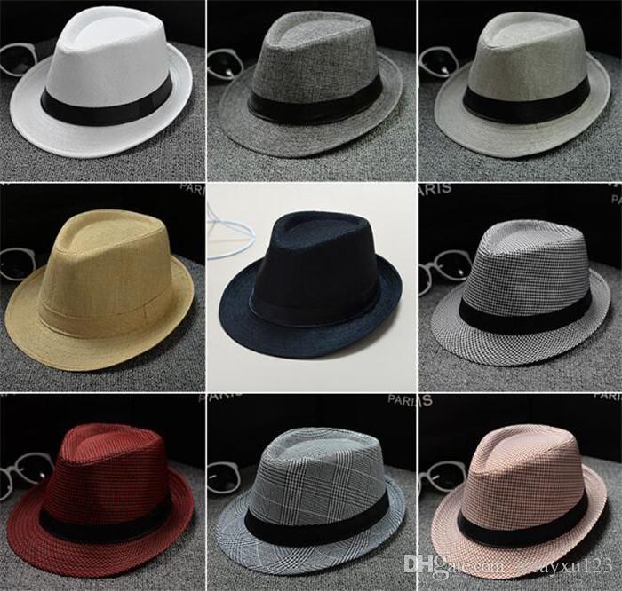 0a610087c535 500 unids Vogue Hombres Mujeres Algodón / Lino Sombreros de Paja Suave  Fedora Panamá Sombreros Al Aire Libre Stingy Brim Caps J067