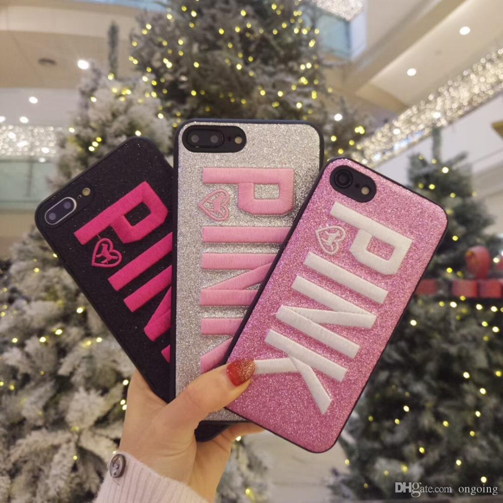 Hot color PINK glitter Soft silicon cover cases for iphone X 6 S 6S plus 7 7plus 8 8plus samsung S9 S8 Shiny Pet dog Blinking phone cases