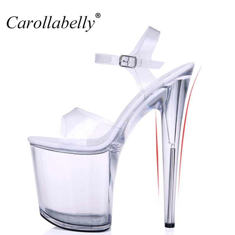 cf940415022bb6 Extra High Heels Crystal Shoes Women Pumps Sexy Transparent  12 13 15 17 20cm High Heel Sandals Platform Nightclub Shoes Big Size Wedge  Heels Pink Shoes From ...
