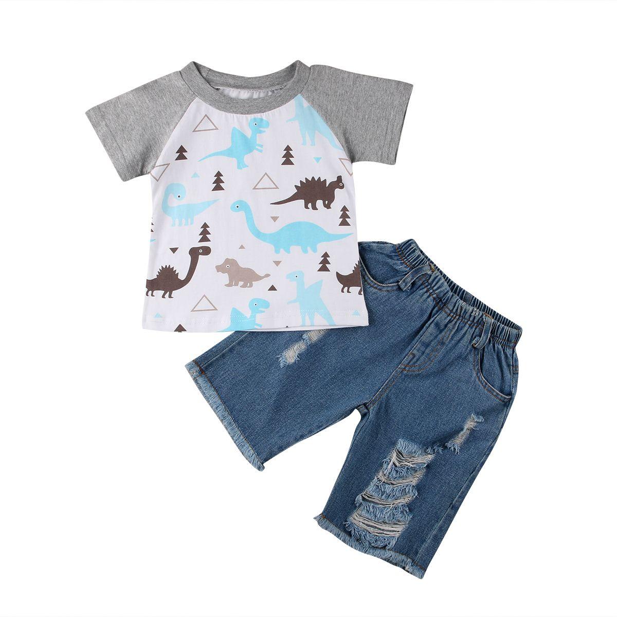 102d431b91a7c Acheter Bambin Enfants Bébé Garçons Vêtements Ensemble Manches Courtes  Dinosaure T Shirt Tops + Denim Shorts Pantalons Tenues Vêtements Ensemble  De  36.89 ...