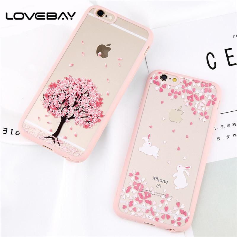 the latest 5f5b9 19d41 Phone Case For iPhone X 8 7 6 6s Plus Elegant Sweet Cherry Blossom Pattern  Cover Acrylic Cases For iPhone 4 4s 5 5s SE