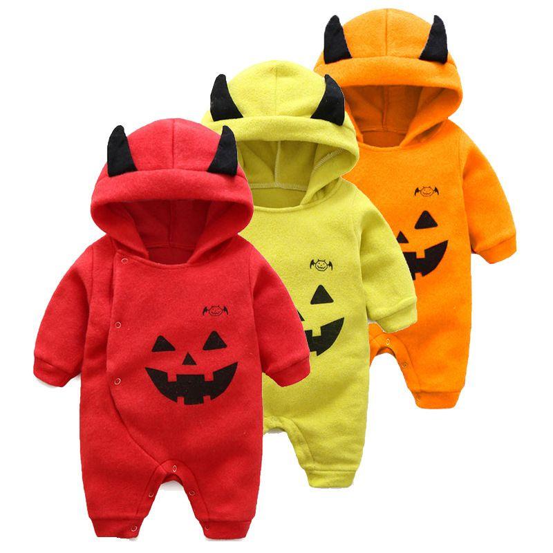 308e44bc8 Baby Pumpkin Halloween Hoodies Costume Romper Long Sleeve Jumpsuit ...