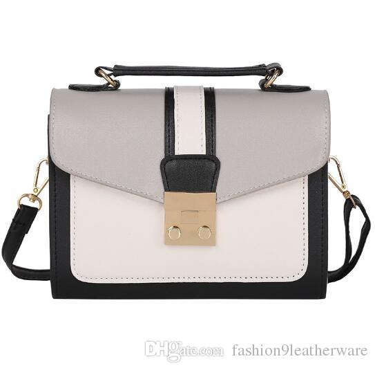 030a5a7c63f Korea Styles Patchwork Shoulder Bag Two-tone Leather Lock Design Messenge  Crossbody Bags Women Girl Casual Purse Portable Accessory