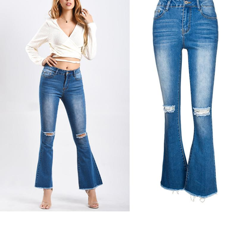 7bb83f2bfb6 2019 Retro Plus Size Flare Jeans Women Bell Bottom Jeans Stretch Knee Hole  Ripped Boyfriend For Women Wide Leg Denim Trousers From Beautyjewly