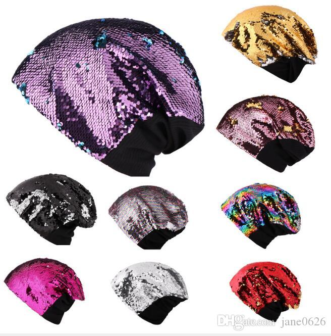 adb8bcb6c Women's Winter Warm sequins knitted caps Beanies Matching Ribbed Winter  Warm Cable 10 colors free shipping