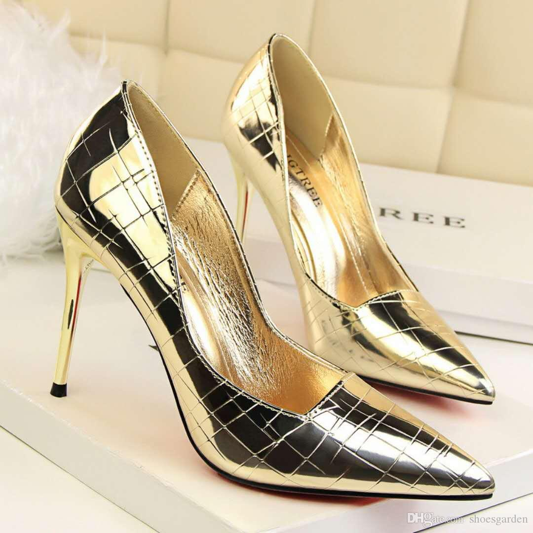 Champagne Sexy Women Lady High Heel Shoes Pointed 9.5cm Stiletto Heel Sexy Evening Party Prom Shoes Mirro Patent Leather Wedding Shoes