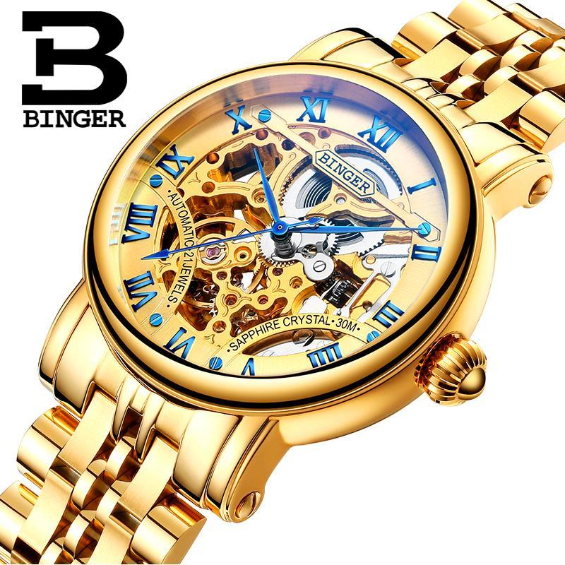 128e47d3dd7d Швейцария роскошные мужские часы BINGER бренд выдалбливают Механические  наручные ...