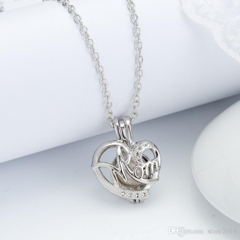 Love Wish Pearl Cages Locket Necklace Hollow Out Animal Oyster Freshwater Pearl Elephant/Life Tree/Love DIY Mother's Day Jewellery