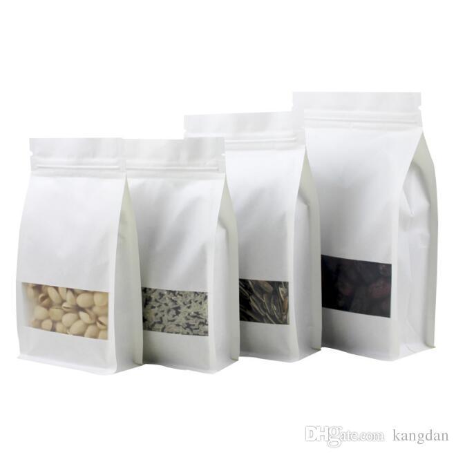 Branco Kraft embalagem de papel sacos de levantar-se da janela aberta sacos de comida lanches doces frutos secos saco de varejo de grande capacidade saco de válvula moistureproof