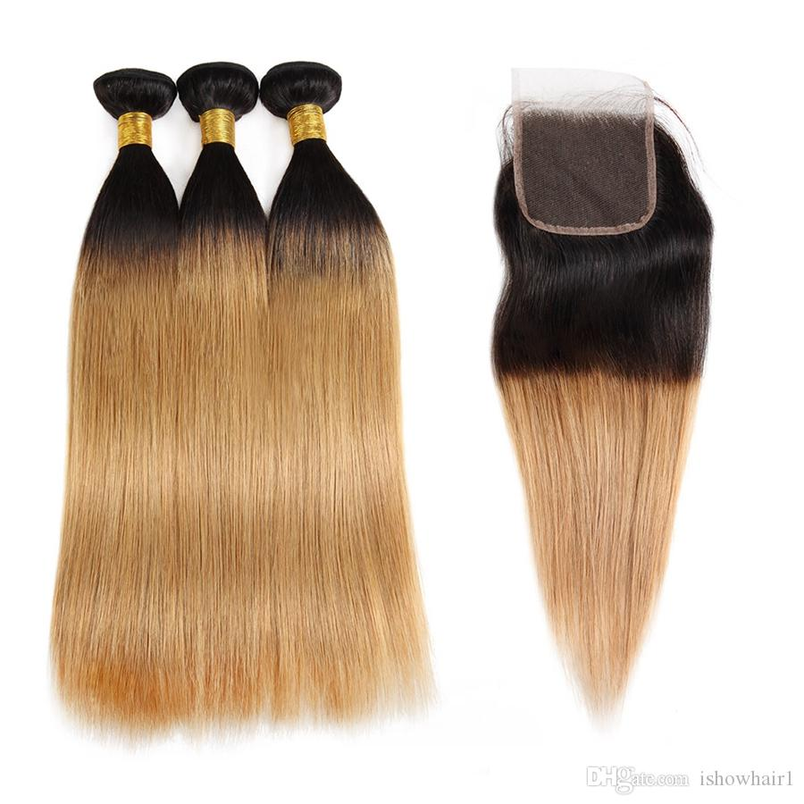 Ishow 10a Ombre Color Raw Hair Weaves Extensions 3bundles With