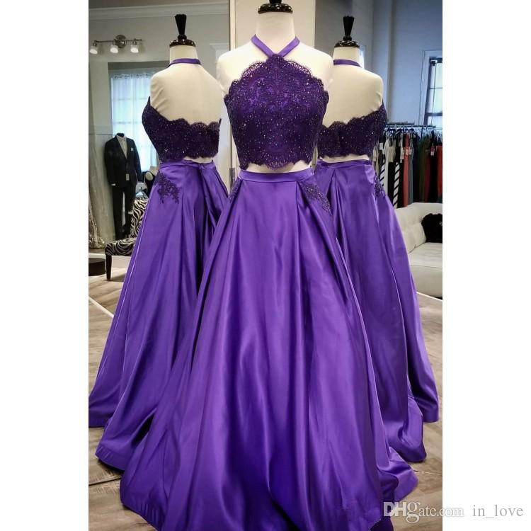 Actual Image 2 Pieces Purple Prom Dresses Halter Neck Beaded Lace Top Floor Length A Line Modern 2019 Evening Party Gown Custom Size