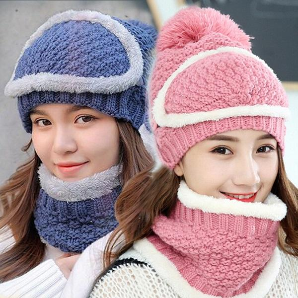 6340bd29d3c Woman Winter Hat Mask Scarf Lady Warm Beanie Snow Knit Warm Hat Winter Hat  Warm Beanie Warm Hat Online with  6.94 Set on Shunhuico s Store