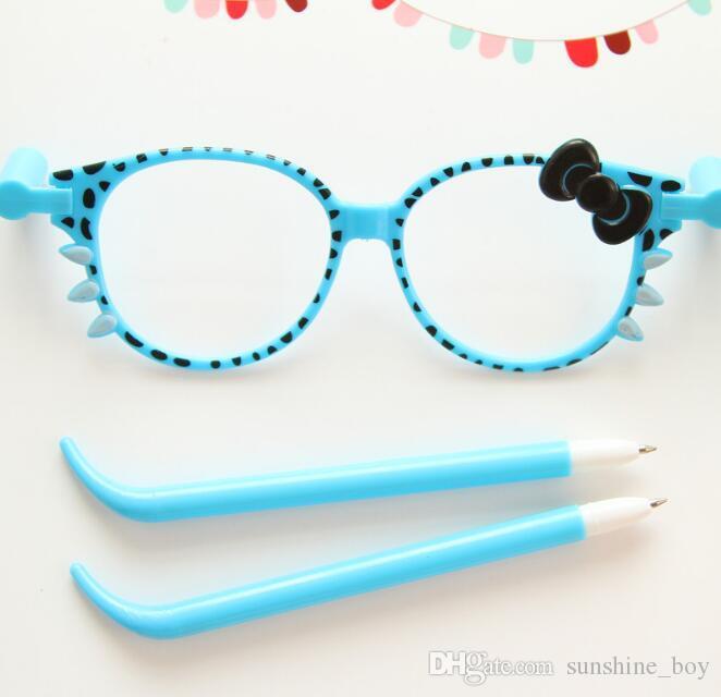 Tükenmez kalem 40 adet = Gözlük 20 adet / grup Karikatür Kedi Yay Gözlük Tükenmez Kalemler Sevimli Tükenmez Kalem Ofis Okul Kırtasiye Hediye ...