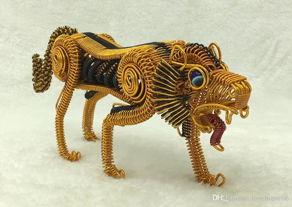 wholesale tiger model decor pure handcraft handwork metal animal model Strange new desktop decor Tableware 24*11cm