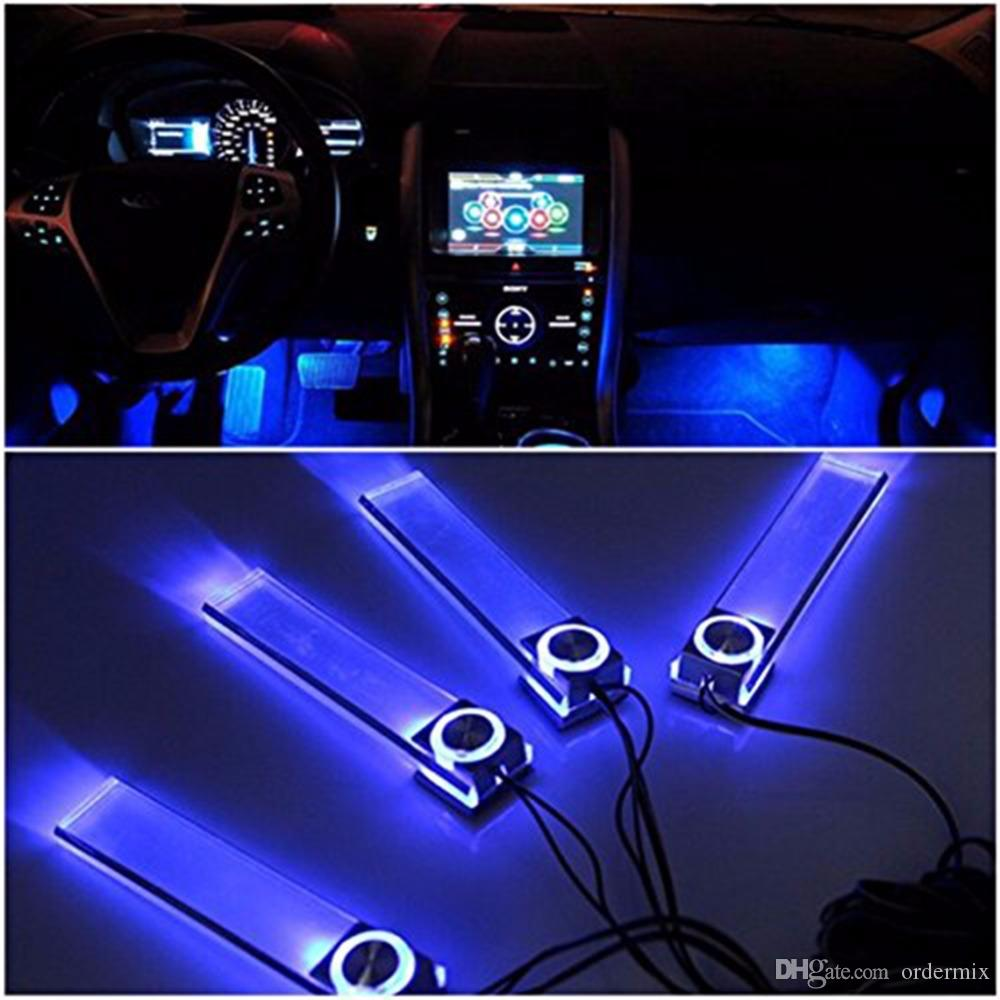 4 In 1 Car Auto Interior Charge LED Atmosphere Light Decoration Lamp Car Styling Foot Lamp Blue light Auto Accessories