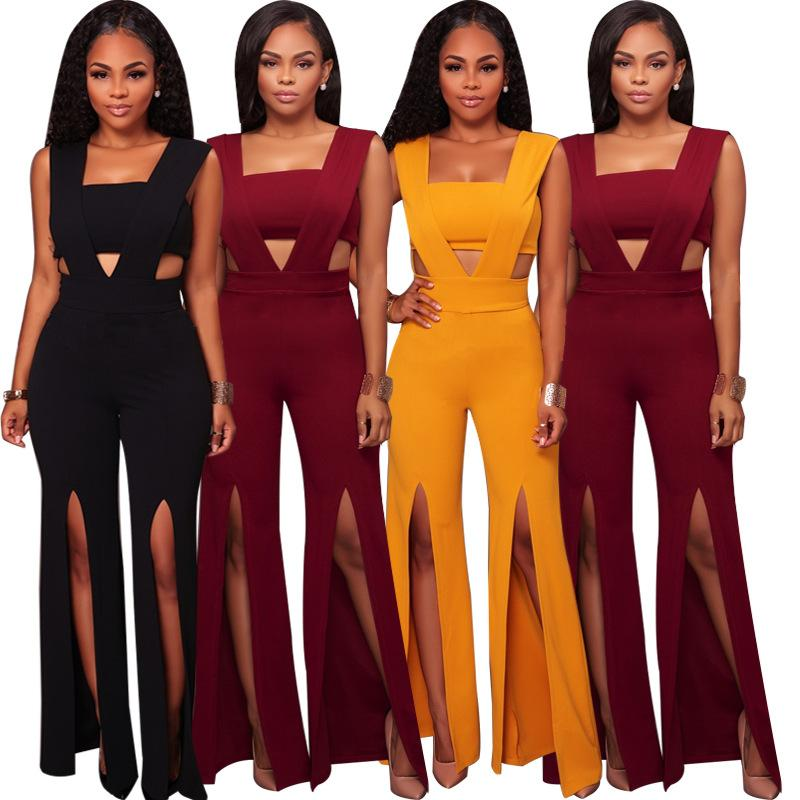 a27ed3b4087 2019 Women s Overall Plus Size Body Suit Sexy Wide Leg Pants Female Winter  Jumpsuit Bodies Mujer Macacao Feminino Comprido Salopette From Yanmai
