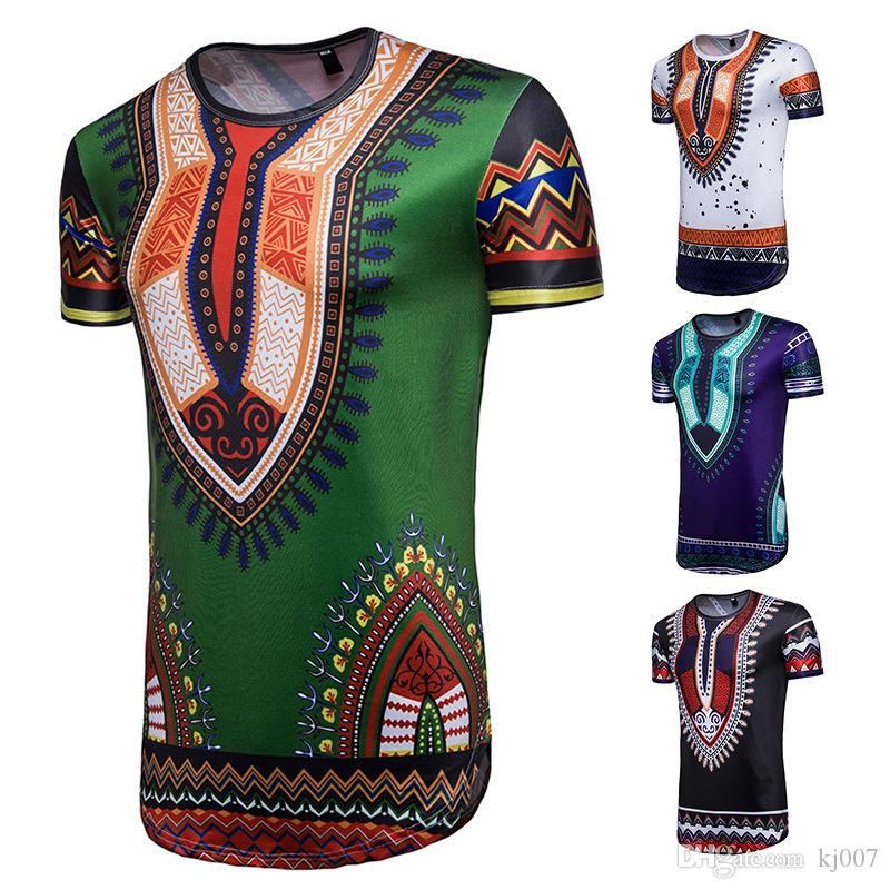b7ad9a90 Men's Ink Paisley Short-sleeved T-shirt Fashion Irregular African Ethnic  Style Large Size t shirts Wholesale Personality Geometric Tops Tees