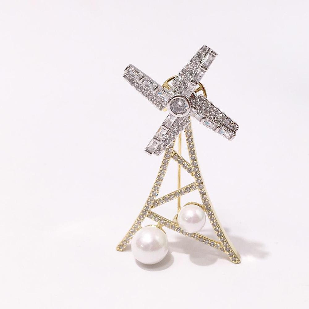 【56】 Heat Pin Copper Gold-plated Ornaments Exquisite Immovable Rotate Size Pearl Full Drill Intermittent Color Windmill Brooch A911