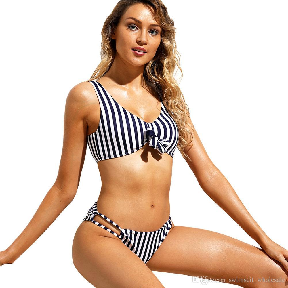 c9b45c0fcb3 2019 Sexy Bikini 2018 Bathing Suit Navy White Bold Stripe Two Piece Swimsuit  LC410634 Women Biquini Swim Wear Maillot De Bain From Swimsuit wholesale