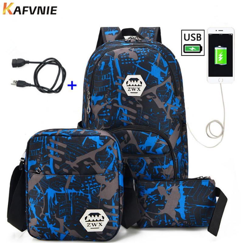 USB Male Backpack Bag Set Red And Blue High School Bag For Boys One Shoulder  Big Student Book Bag Men School Backpack Women Backpacks For Girls  Messenger ... 8b80b0d19cfd3