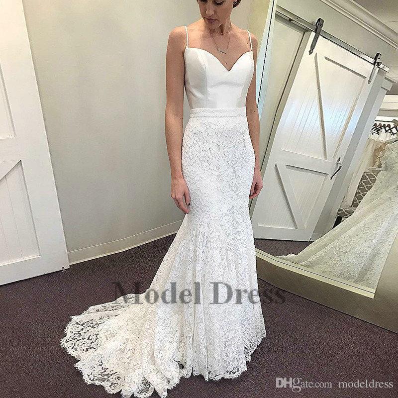 261e84500404 2018 Spring Summer Mermaid Wedding Dresses Lace Satin Spaghetti Straps  Elegant Modest Bridal Gowns Sweep Train Vestido De Novia Lace Bridal Gowns  Lace ...