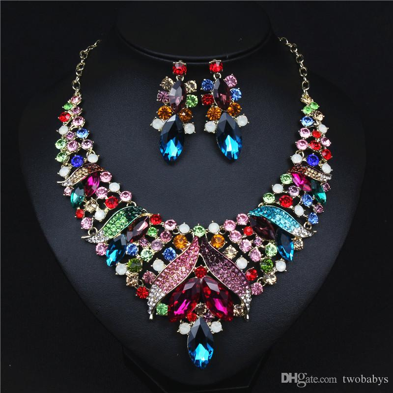 7a8305753087a Evening Jewelry Set for Women Necklace and Earrings Bridal Jewelry Sets  Shiny Color Crystals Necklace