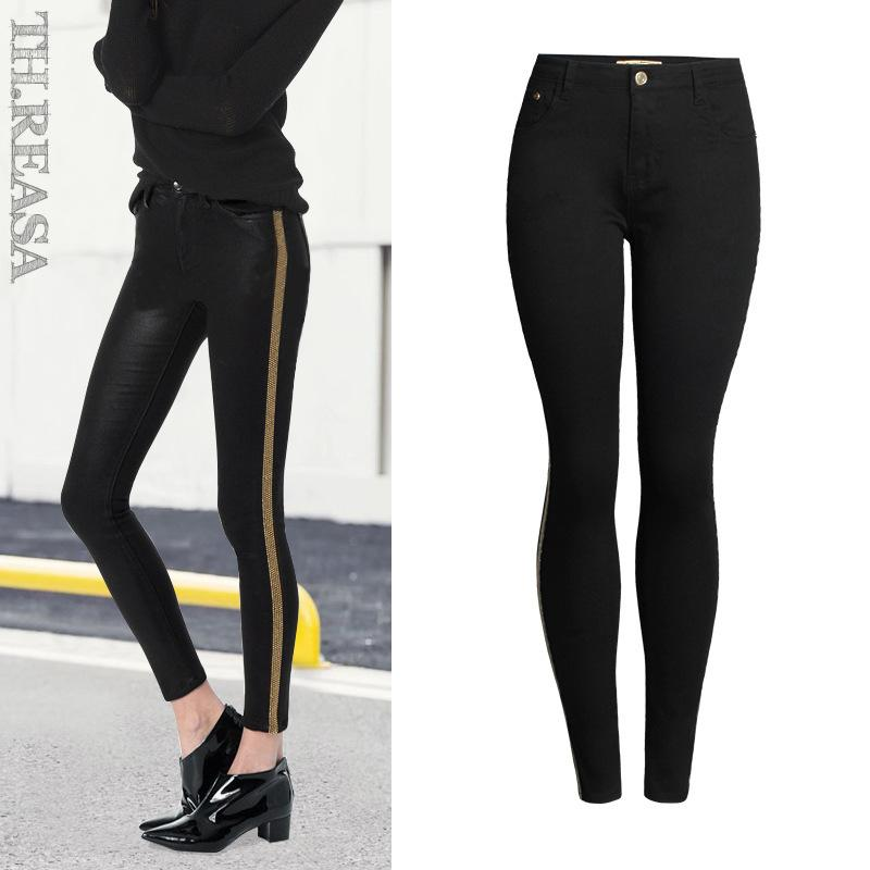 42b84229ef4b2 2019 2018 Spring Fashion Sequined Side Stripe Jeans Women Europe America  Denim Cotton Slim Push Up Black Skinny Pencil Pants Mujer S18101603 From  Jinmei03