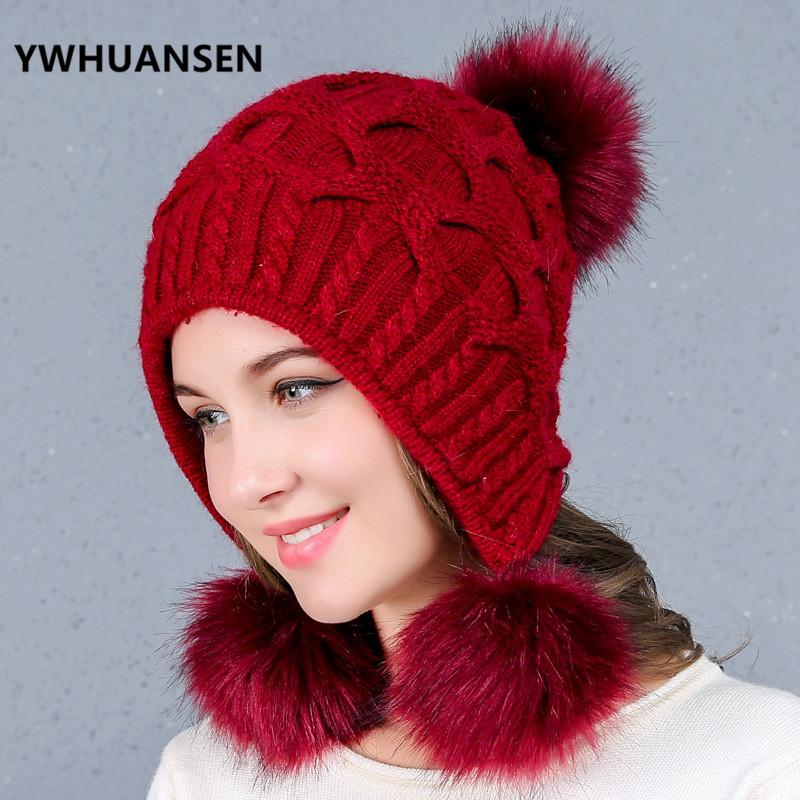 YWHUANSEN Thick Women Adult Winter Cap Faux Rabbit Fur Pompon Crochet Hat  Female Winter Hat For Girls Knitted Beanie Skullies Knit Cap Slouch Beanie  From ... 1a22d487381
