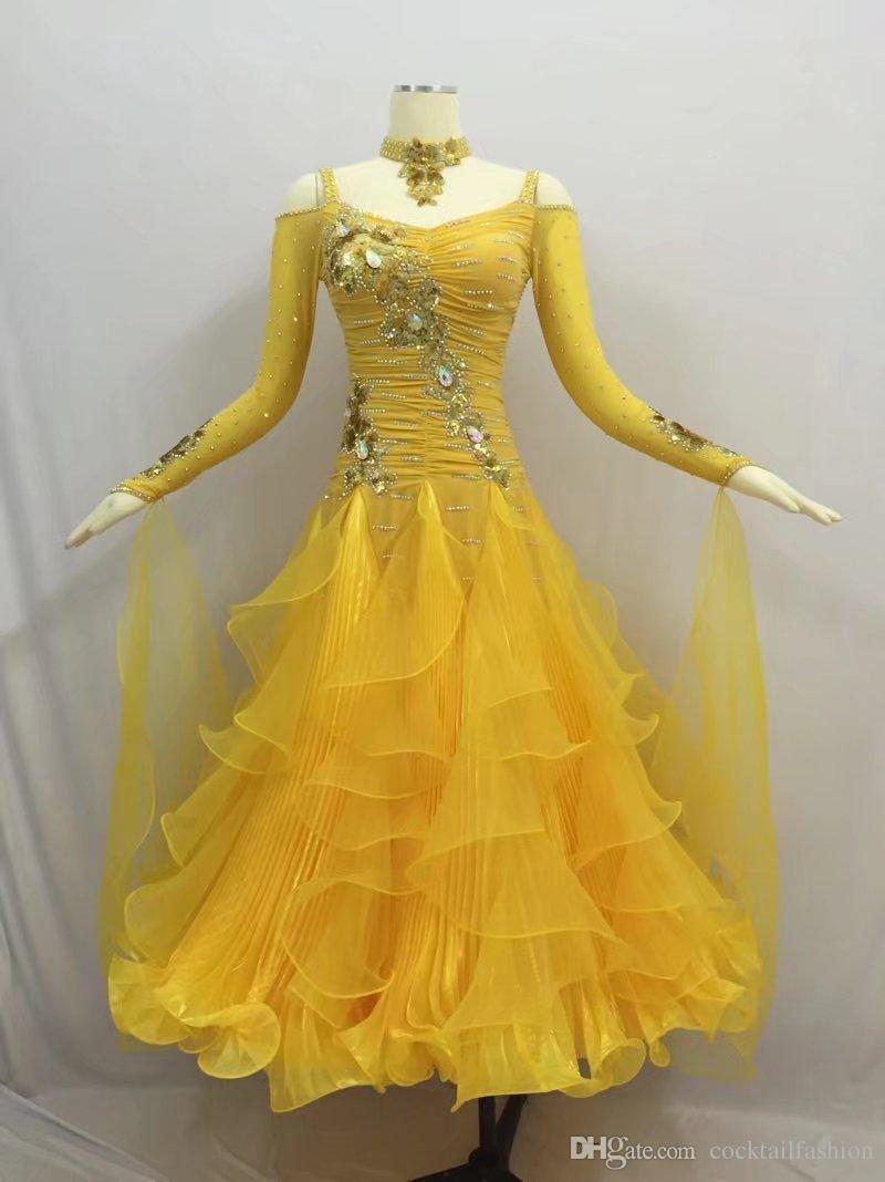 06065040e Women Standard Ballroom Dancing Dress Adult Long Sleeve Yellow Color Waltz  Tango Ballroom Competition Dance Dresses Canada 2019 From Cocktailfashion,  ...
