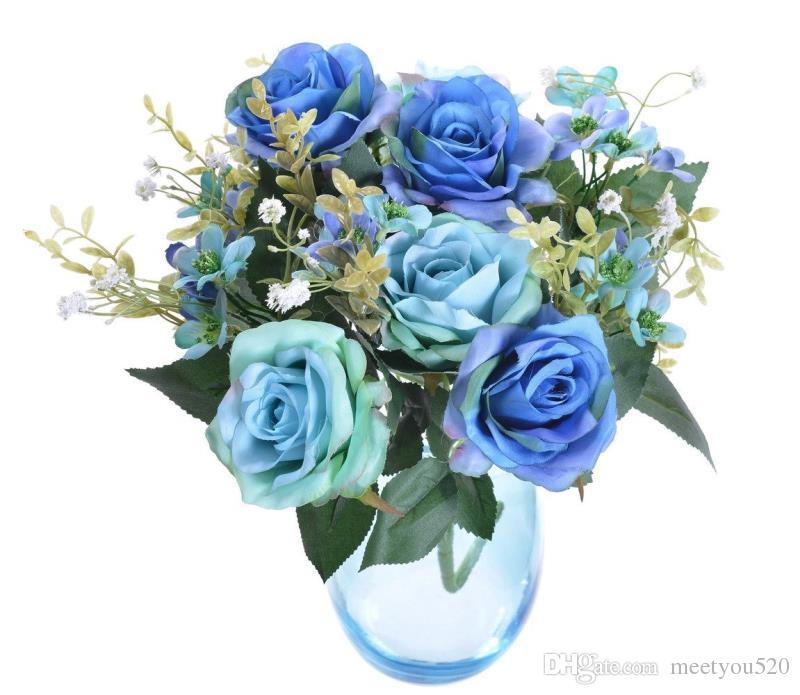 Bouquet di fiori artificiali in 17in rose 12 teste Fiori decorazioni feste domestiche Bomboniere 6 fiori rosa e 6 boccioli - rosa