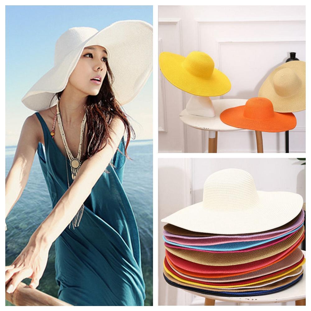 e411657034f Women Summer Beach Hat Straw Foldable Hat Wide Large Brim Floppy Sun ...