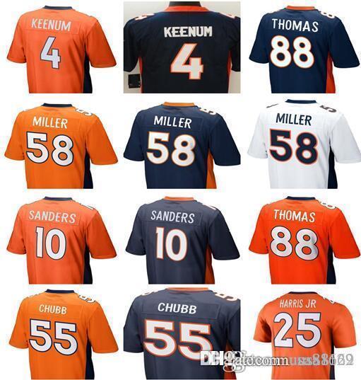 71026216 Men's womens kids youth Denver Broncos 58 Von Miller 4 Case Keenum 88  THOMAS 10 SANDERS 55 Chubb Football Jersey size S-XXXL