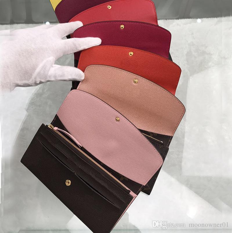 Hot Lange Brieftasche Aus Echtem Leder Visitenkartenetui Mode Original Frauen Klassische Reißverschluss Pocke Handy Kartenhalter