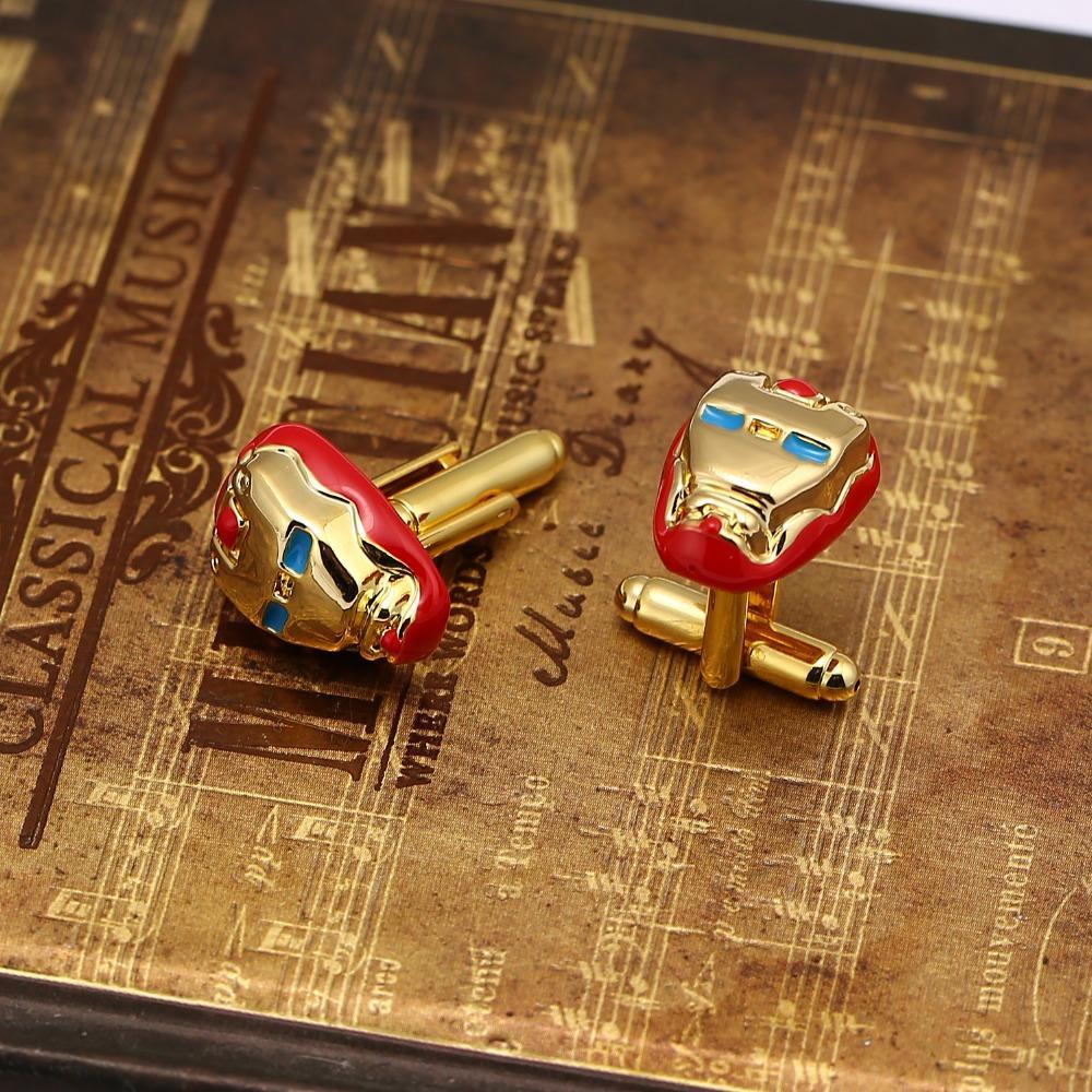 J store Superhero Iron Man Cufflinks Enamel Mask Gold Color Cuff Links For Men Shirt Fashion Jewelry