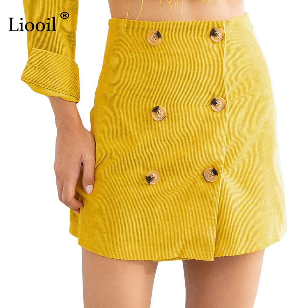 ff57bcae4 2019 Liooil Winter Corduroy Mini Skirt Women Clothes Autumn 2018 Fashion Button  High Waist Fall A Line Pencil Skirts Womens Clothing From Philipppe, ...