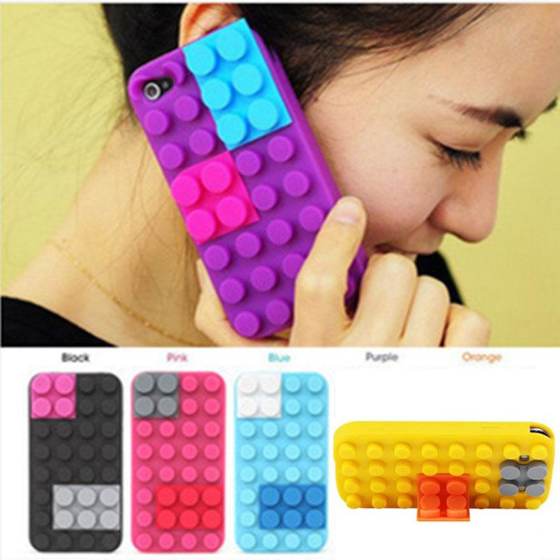 50PCS Creative Colorfull Building Block Silicone Soft Back Kick Stand Case Cover for Apple IPhone 4/5/6