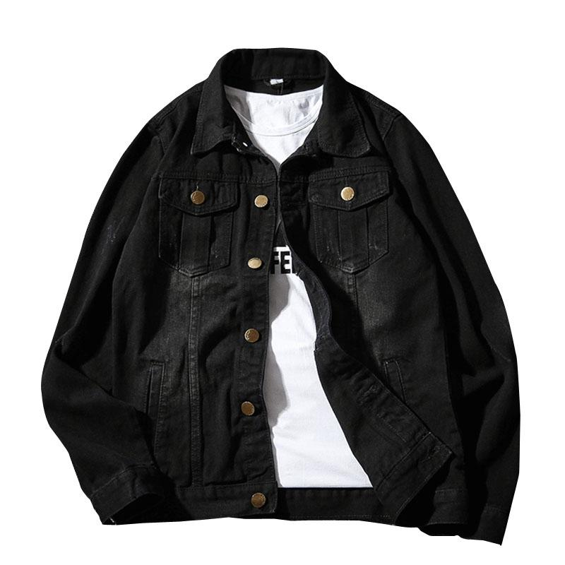 Acquista 2018 Autunno Nuovi Uomini Giacca Di Jeans Nero Di Buona Qualità  Moda Giacche Jeans Slim Fit Casual Vintage Uomo Abbigliamento 4XL 5XL A   42.7 Dal ... 8dbf04d6d6f