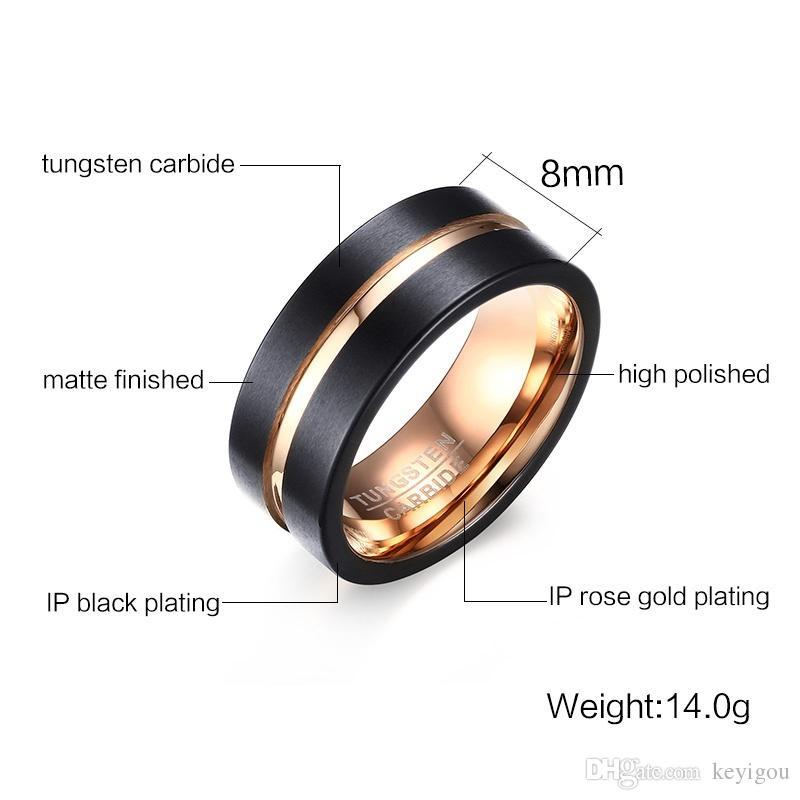 Mens anneaux noir carbure de tungstène or rainure mâle bague de mariage bande de fiançailles bijoux à la mode